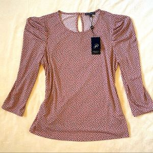 ADRIANNA PAPELL Blemished Heart Blouse